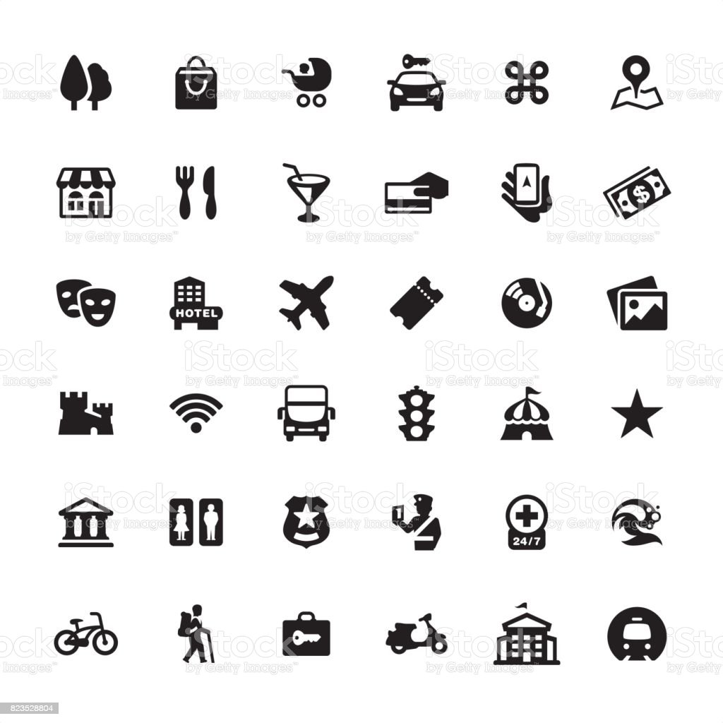 City Guide and Navigation - icon set vector art illustration