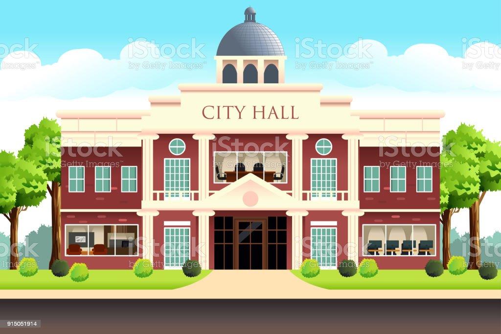 City Hall Building Illustration vector art illustration