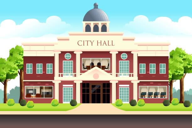 stockillustraties, clipart, cartoons en iconen met stad zalenbouw illustratie - gemeentehuis