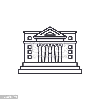 City hall line icon concept. City hall vector linear illustration, sign, symbol