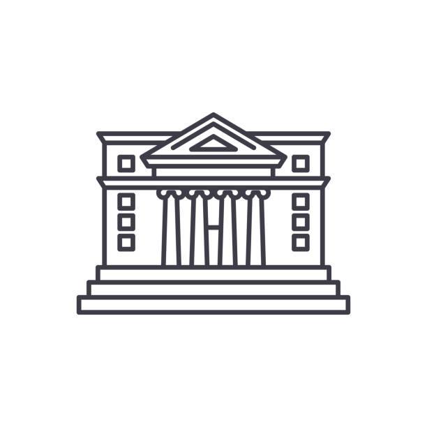 stockillustraties, clipart, cartoons en iconen met stadhuis lijn pictogram concept. lineaire vectorillustratie stadhuis, symbool, teken - gemeentehuis