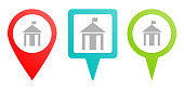 City hall, silhouette pin icon. Multicolor pin vector icon, diferent type map and navigation point.