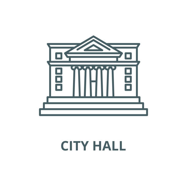 City hall vector line icon, linear concept, outline sign, symbol City hall vector line icon, outline concept, linear sign police meeting stock illustrations
