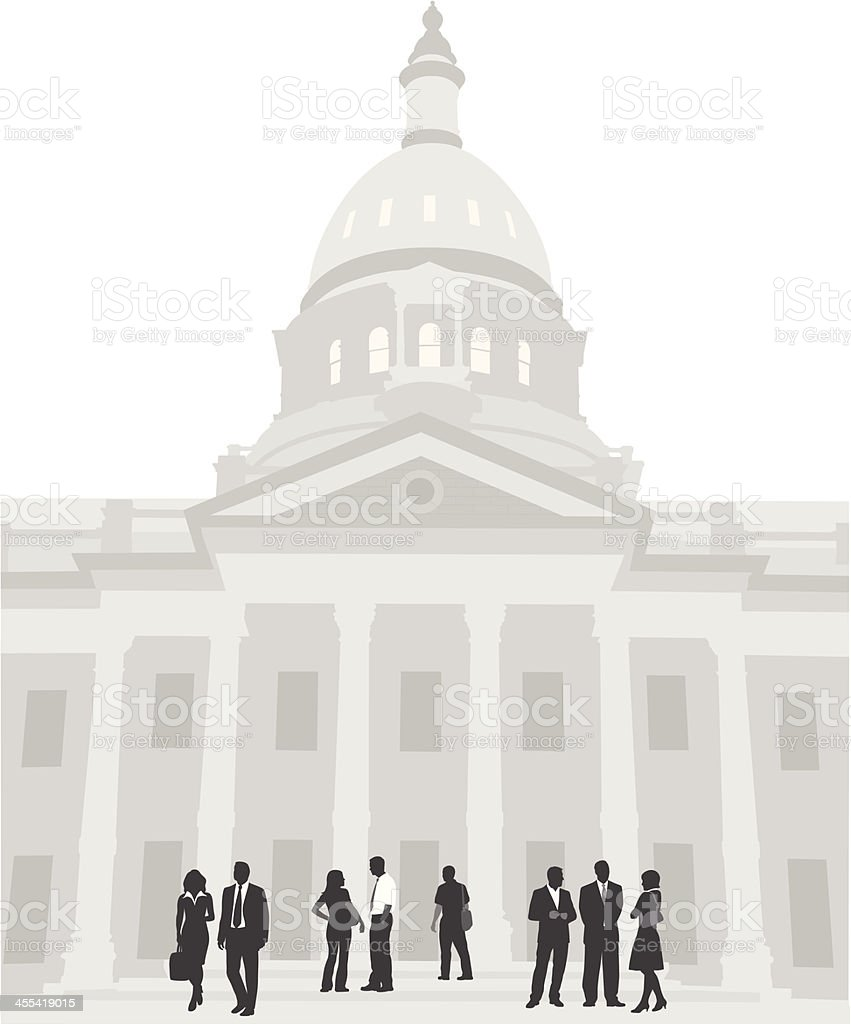 City Hall Vector Silhouette vector art illustration