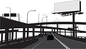 A vector silhouette illustration of a complex roadway through a city including overpasses, underpasses, vehicles, and a large billboard.
