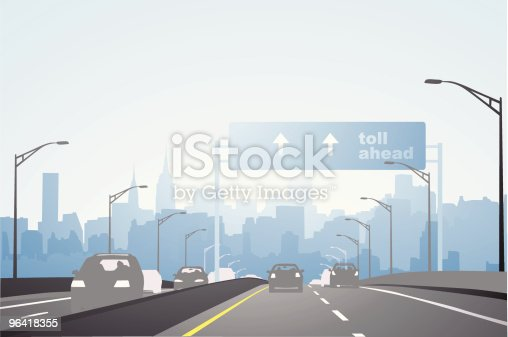 Vector highway leading into a city, good quality. Features easy gradient color switching.