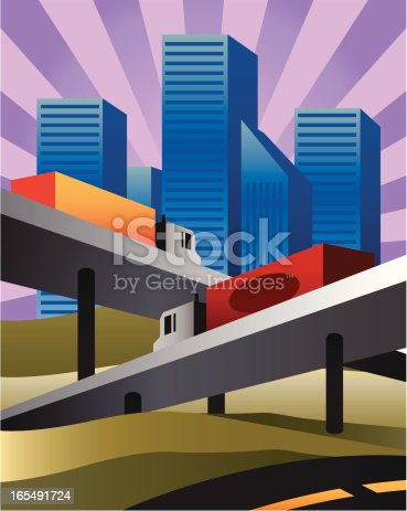 Vector illustration of productive highways leading to the city.