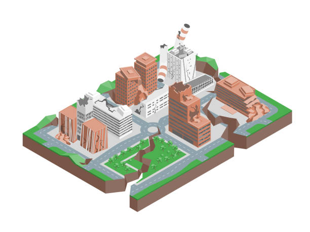 City Hit Earthquake Concept 3d Isometric View. Vector City Hit Earthquake Concept 3d Isometric View Cracking buildings, Damage and Accident. Vector illustration of Natural Disaster Destruction earthquake stock illustrations