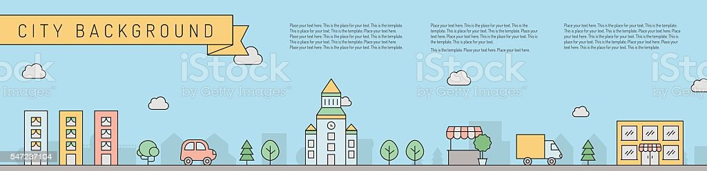 City horizontal multicolored background. Simple outline design. Part one. vector art illustration