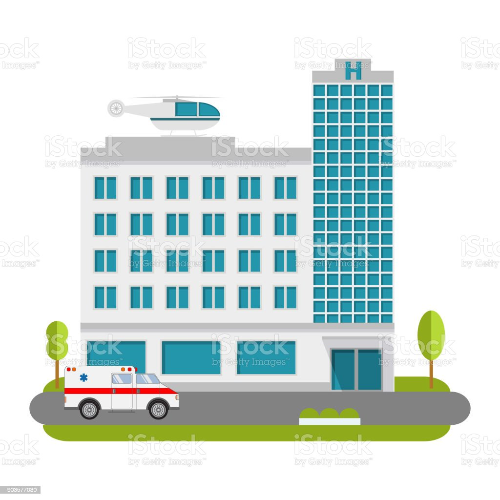 City Hospital and Clinic building with ambulance flat style and the car and the helicopter of medical care.Concept for infographics and design.Ambulatory care. vector art illustration