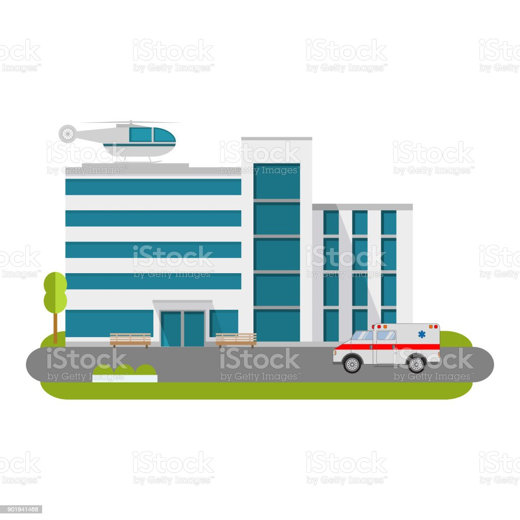 City hospital building with ambulance flat style and the car and the helicopter of medical care.City medical clinic. vector art illustration