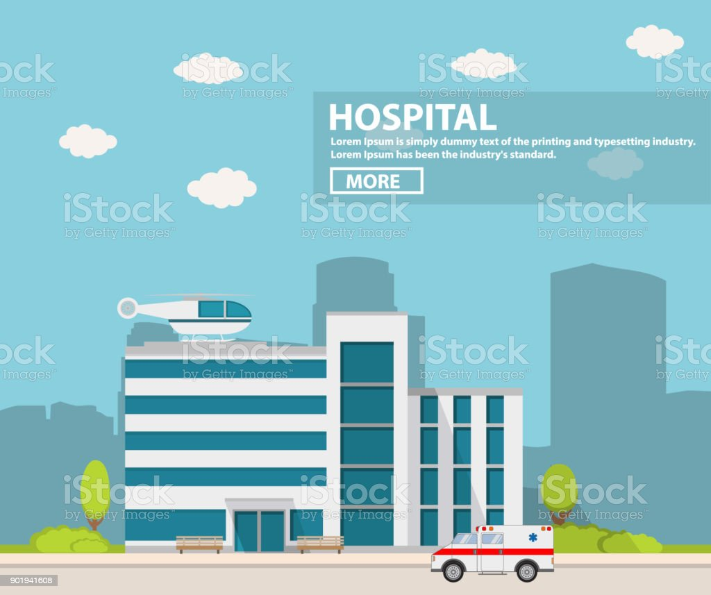 City hospital building with ambulance flat style and the car and the helicopter of medical care. vector art illustration