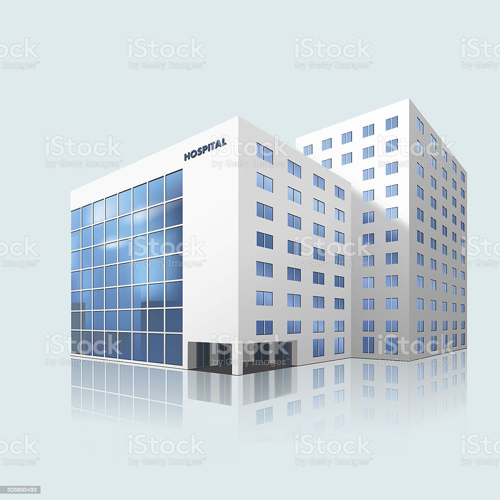 city hospital building with reflection vector art illustration