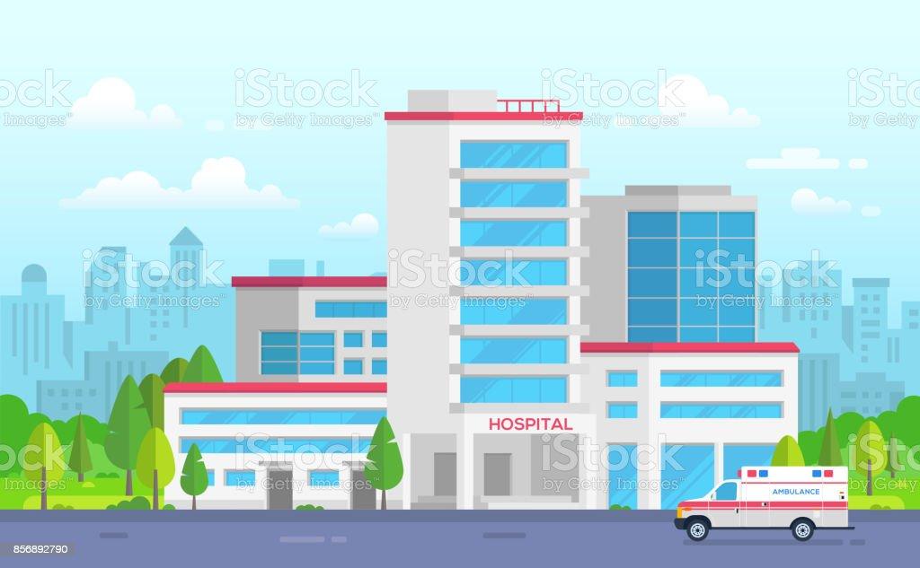 Hôpital de la ville avec ambulance - illustration vectorielle moderne - Illustration vectorielle