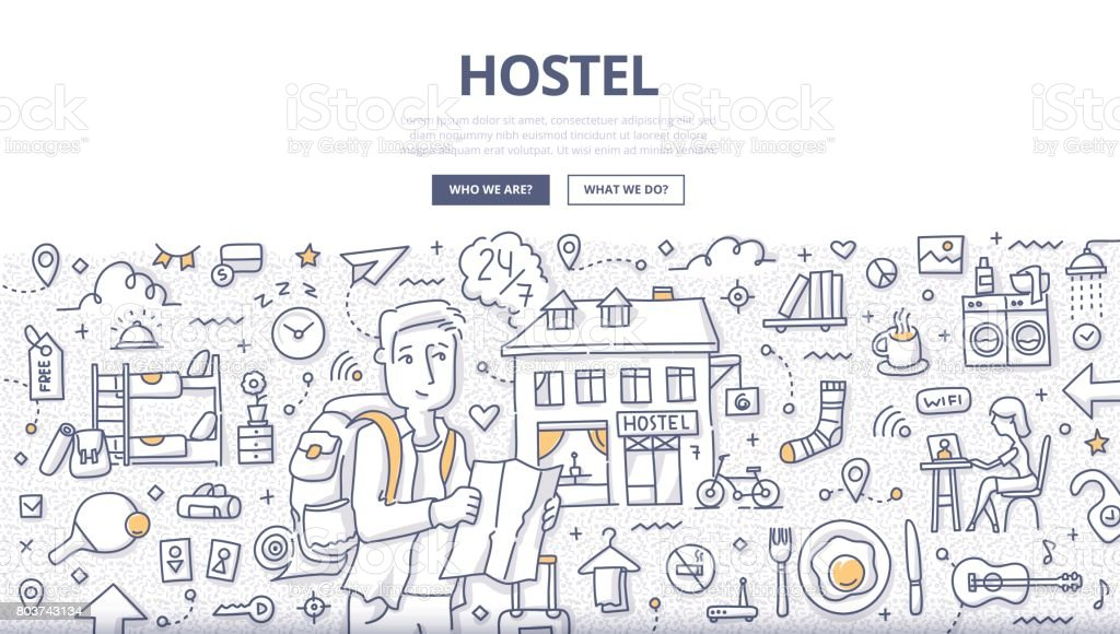 City Hostel Doodle Concept vector art illustration