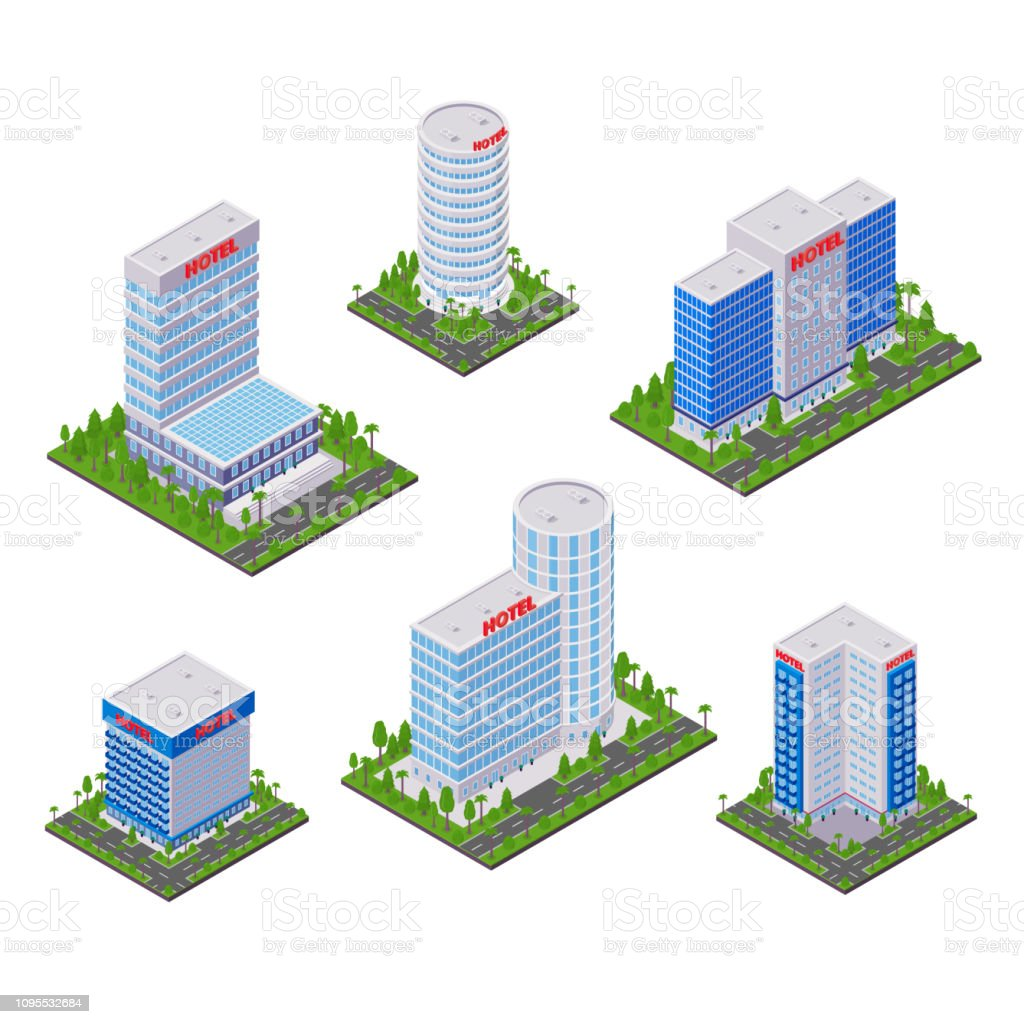 City Hotel Modern Buildings Vector 3d Isometric Icons And
