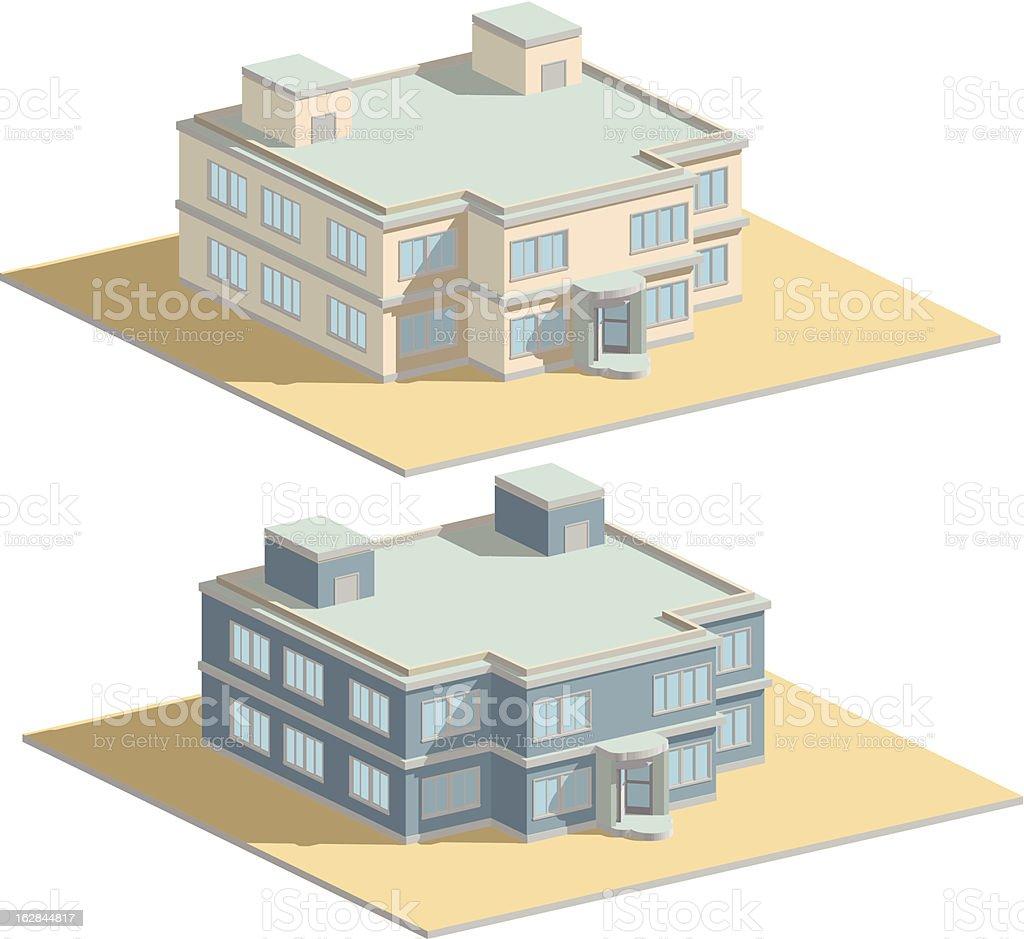 city house, revolving door, isometric royalty-free stock vector art