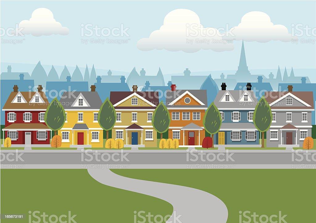 City Houses vector art illustration