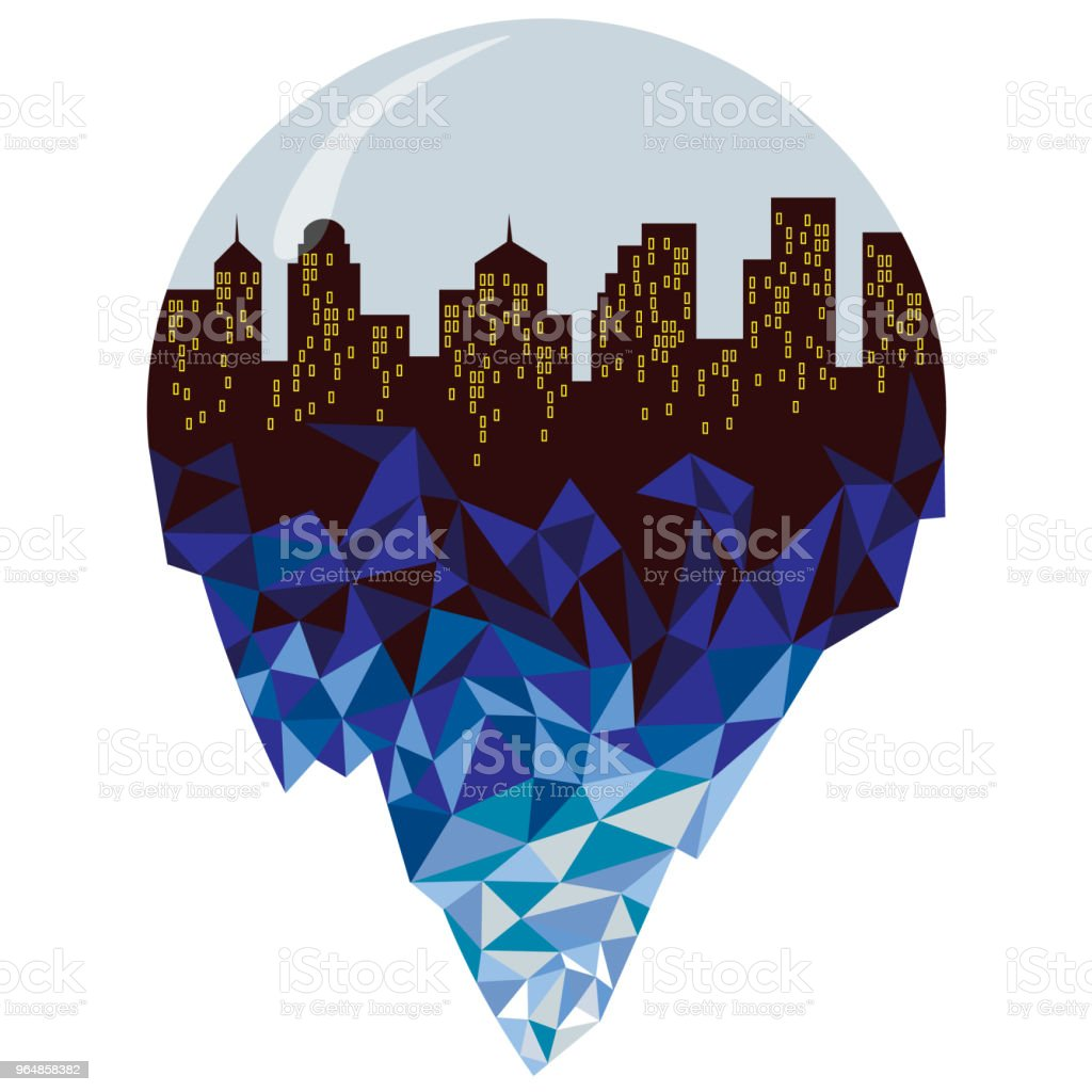 City iceberg under a glass roof royalty-free city iceberg under a glass roof stock vector art & more images of abstract