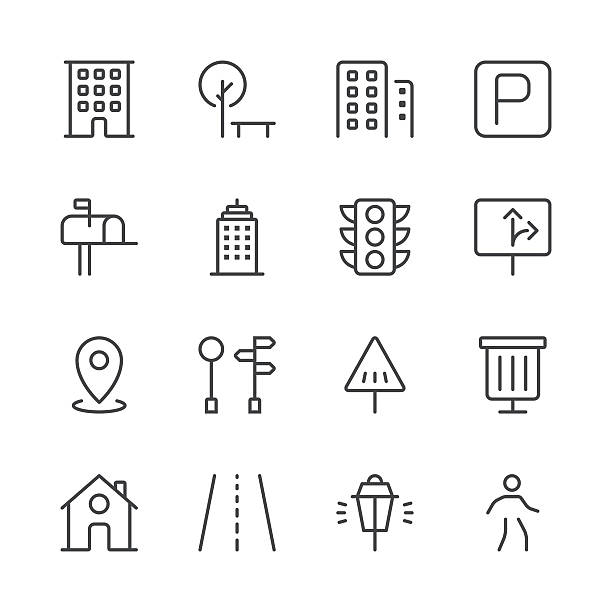 city icons set 1 | black line series - stoplights stock illustrations, clip art, cartoons, & icons