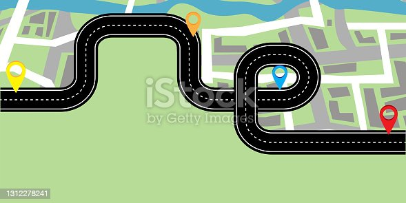 istock City illustration. Flat route on the map for concept design. Chart concept. Stock image. Vector illustration. EPS 10. 1312278241