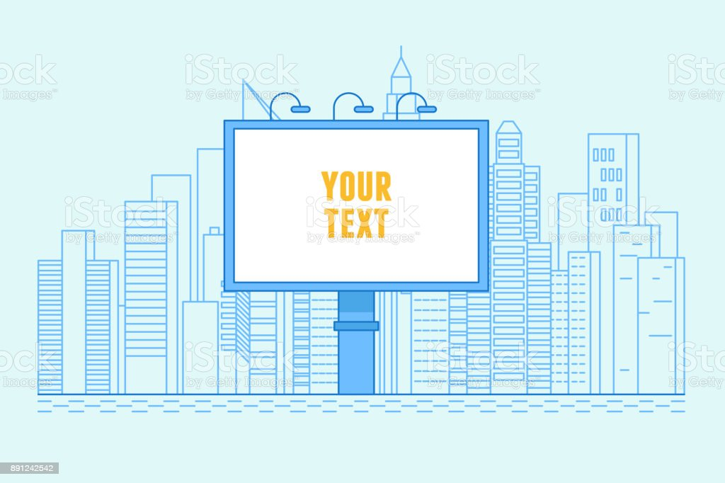 City illustration with buildings and billboard with copy space for text vector art illustration