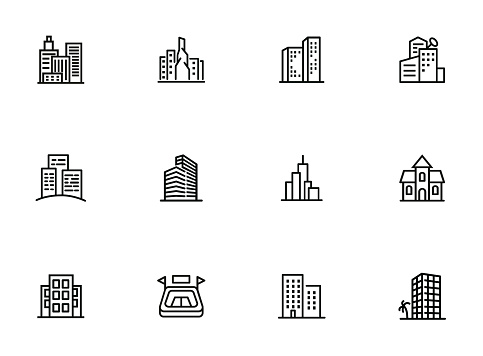 City in Europe line icon set clipart