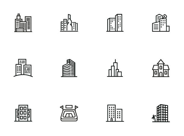 city in europe line icon set - architecture silhouettes stock illustrations