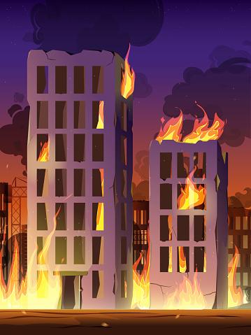 City in fire