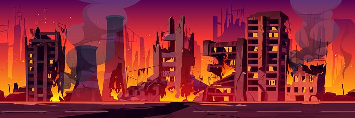 City in fire, war destroy burning broken buildings