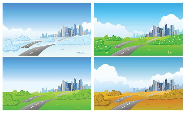 City in four seasons vector art illustration
