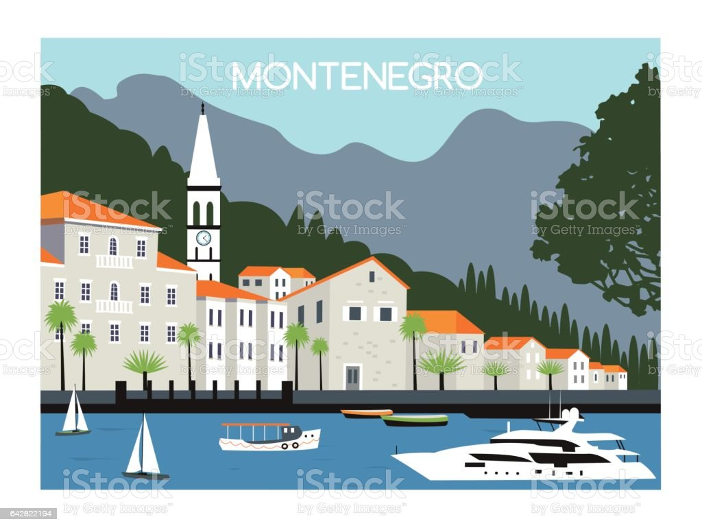City in Montenegro. vector art illustration