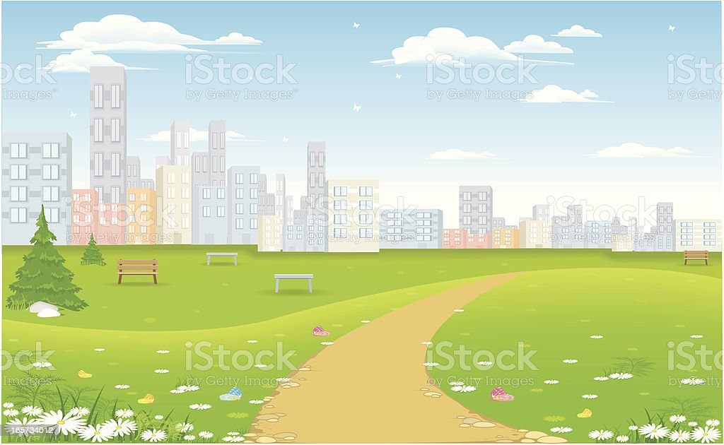 city in nature vector art illustration