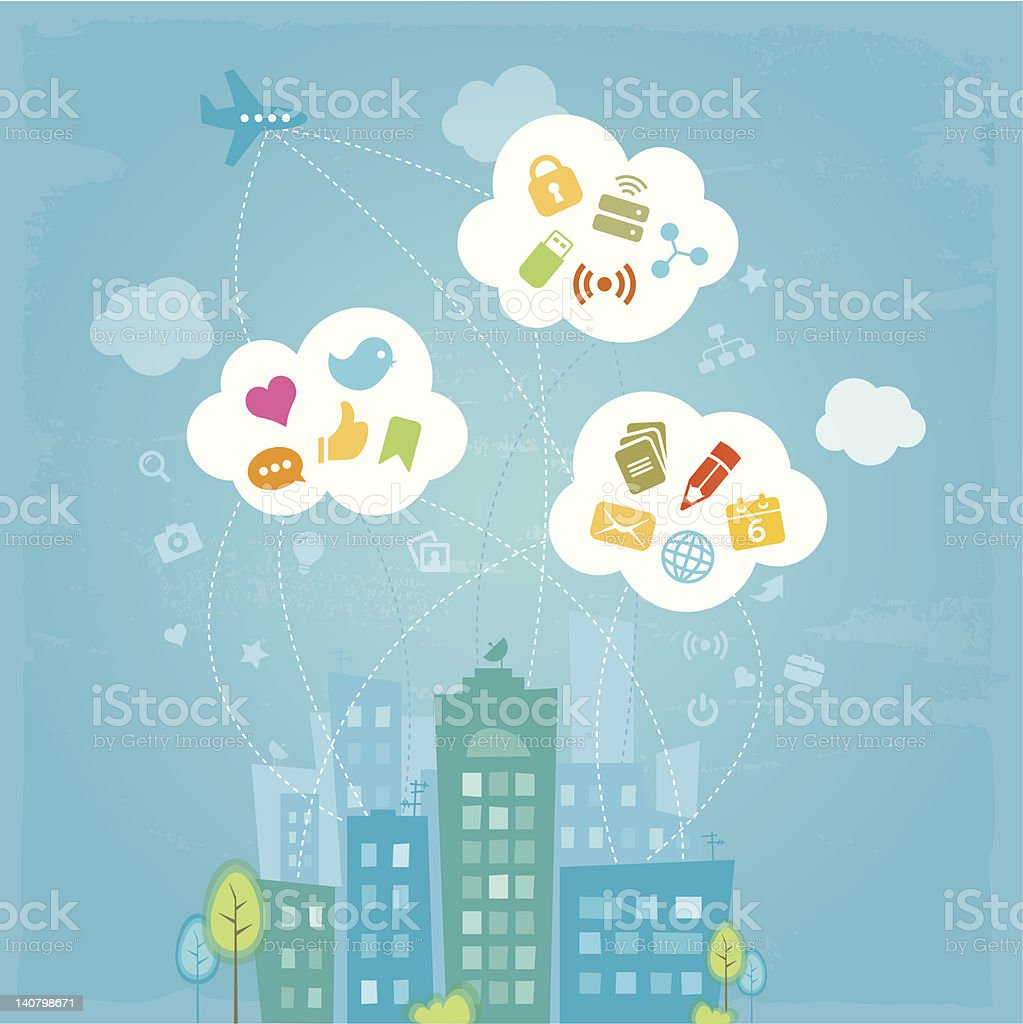 City in the clouds royalty-free stock vector art