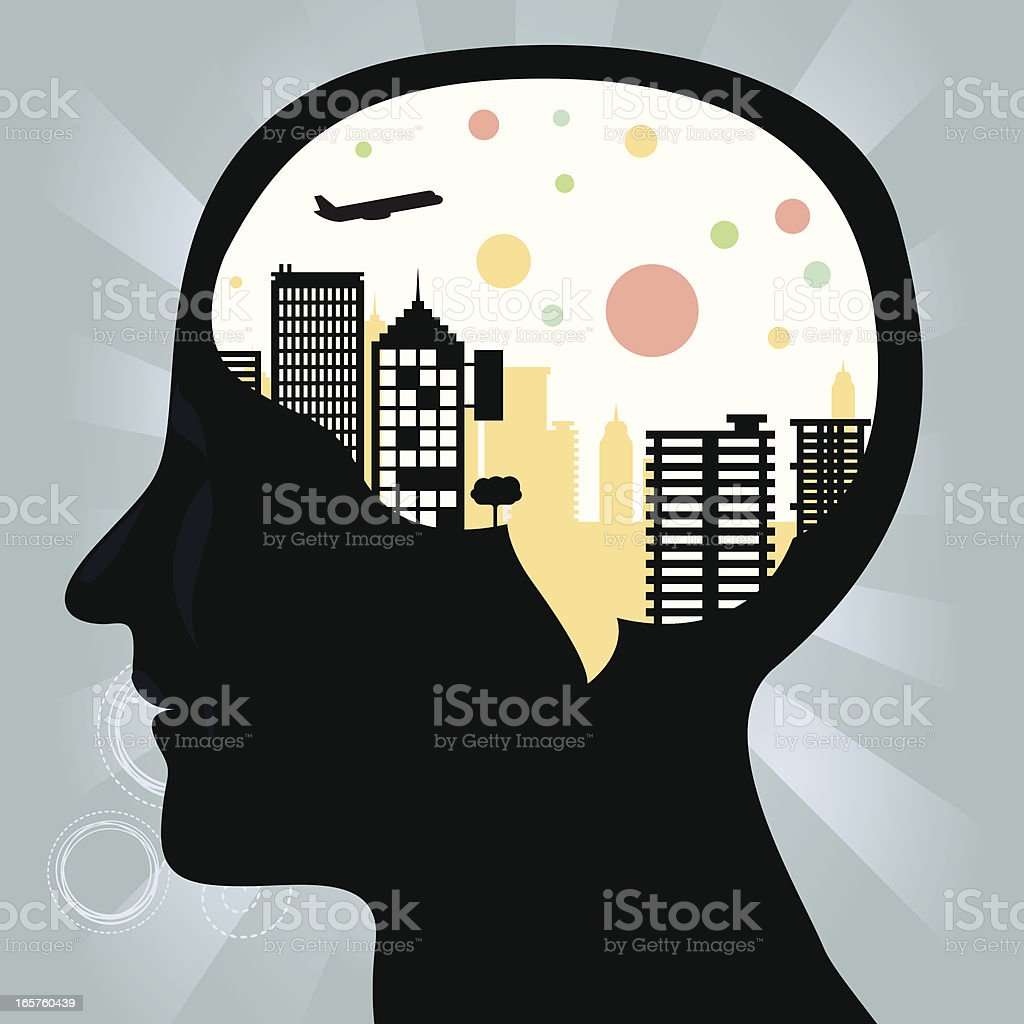 City in the head royalty-free stock vector art
