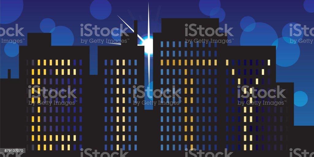 City in the nigh - vector illustration vector art illustration