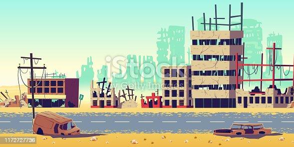 istock City in war zone cartoon vector background 1172727736