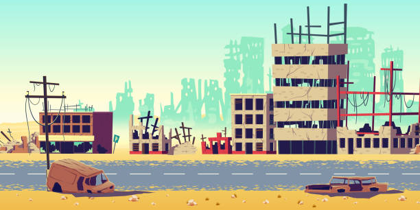 City in war zone cartoon vector background Destruction in war zone, natural disaster or cataclysm consequences, post-apocalyptic world cartoon vector concept. City ruins with destroyed, abandoned buildings, burned cars on streets illustration demolished stock illustrations