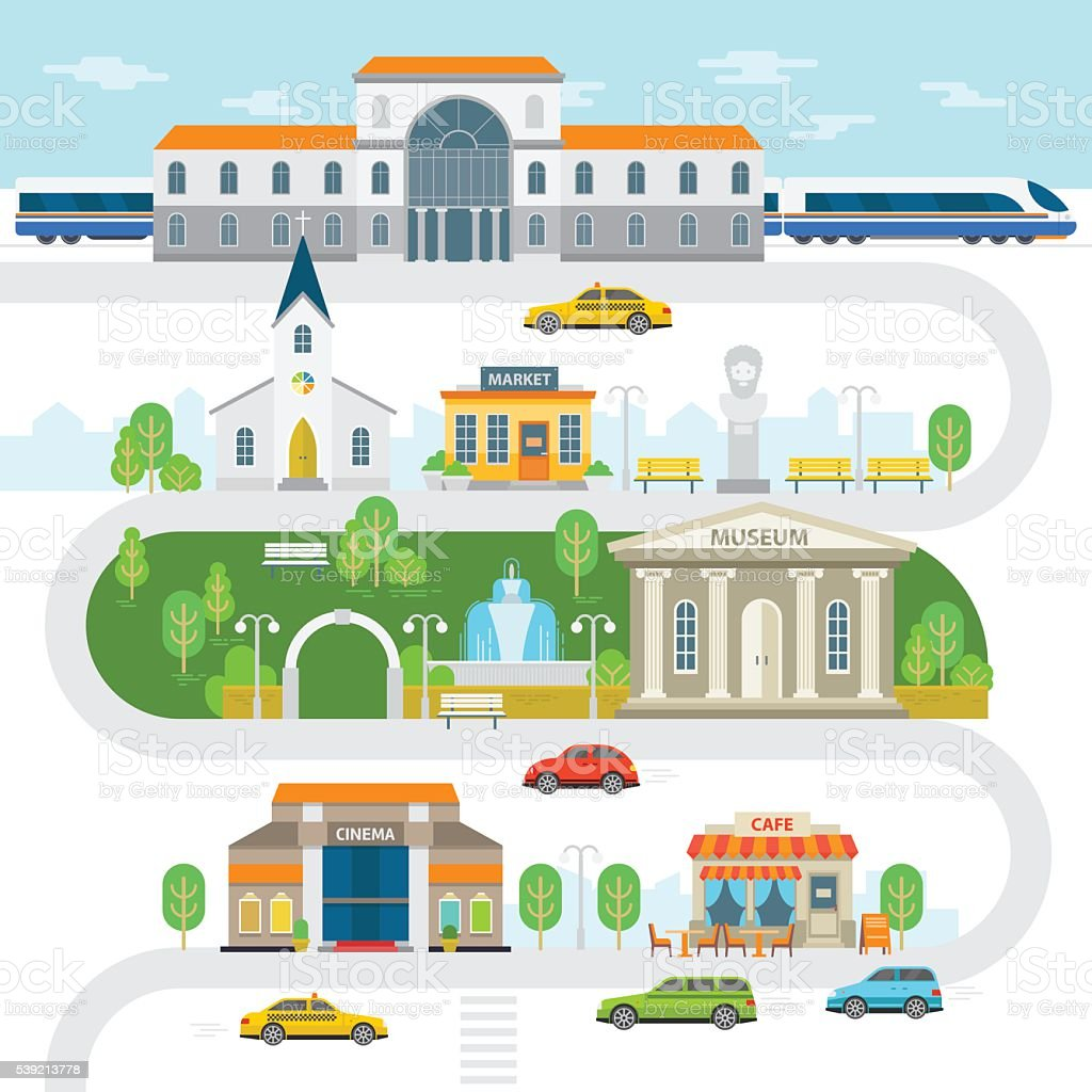 City infographic elements, town vector flat illustration. vector art illustration