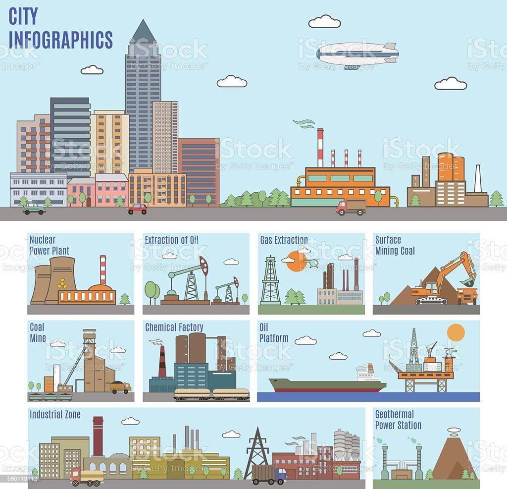City infographics. Industry vector art illustration