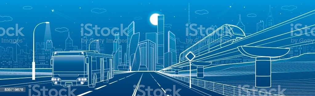 City infrastructure and transport panorama. Monorail railway. Train move over flyover. Modern night city. Airplane fly. Towers and skyscrapers. White lines on blue background, vector design art - illustrazione arte vettoriale