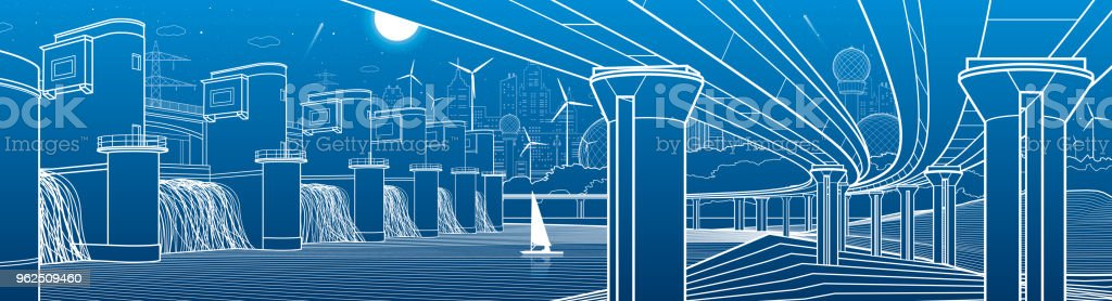 City infrastructure industrial and energy illustration panorama. Hydro power plant. River Dam. Large automobile bridge. White lines on blue background. Vector design art - Royalty-free Architecture stock vector