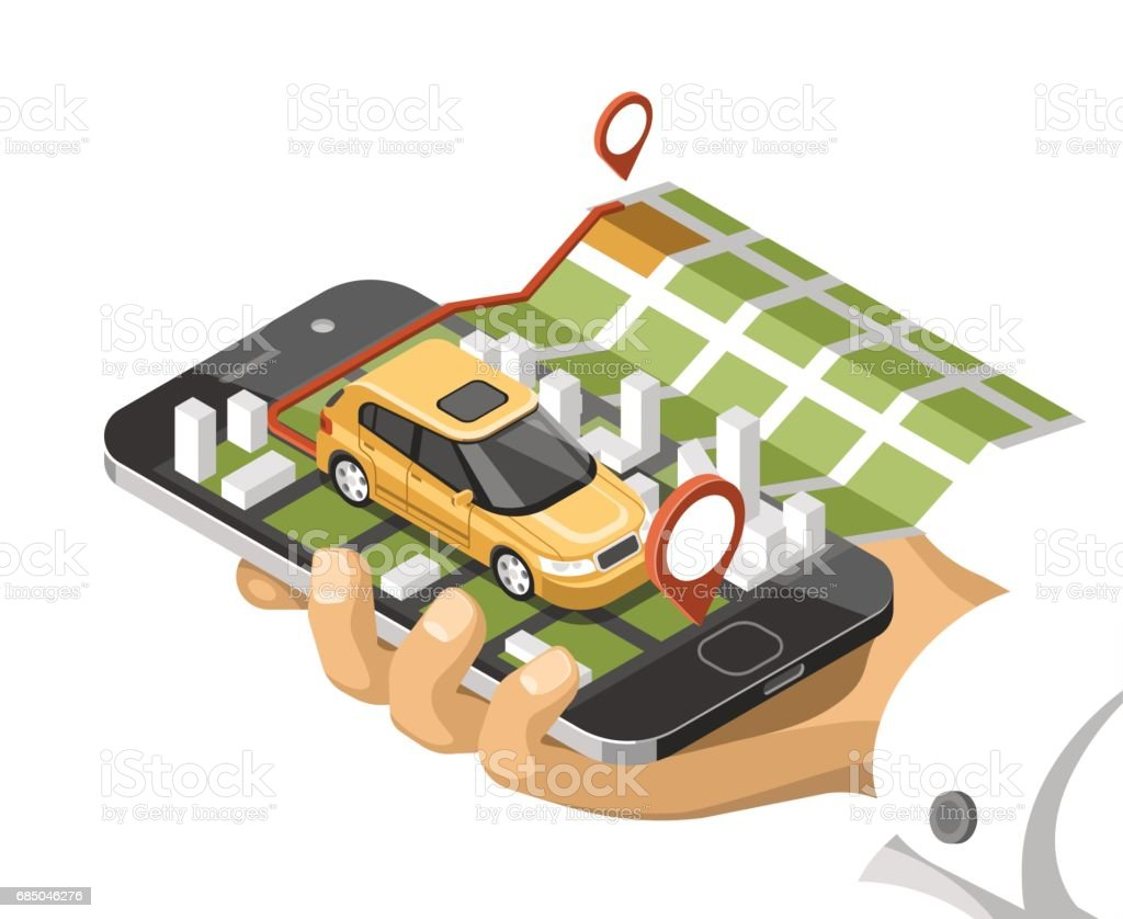 City isometric map with car and buildings on smart phone map on city isometric map with car and buildings on smart phone map on mobile navigate application sciox Choice Image