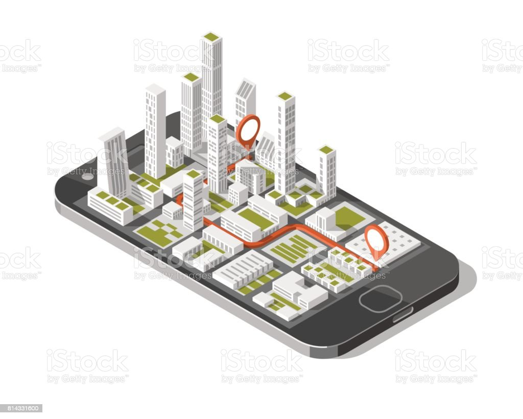 City isometric plan with road and buildings on smart phone. Map on mobile application. 3d vector illustration. vector art illustration
