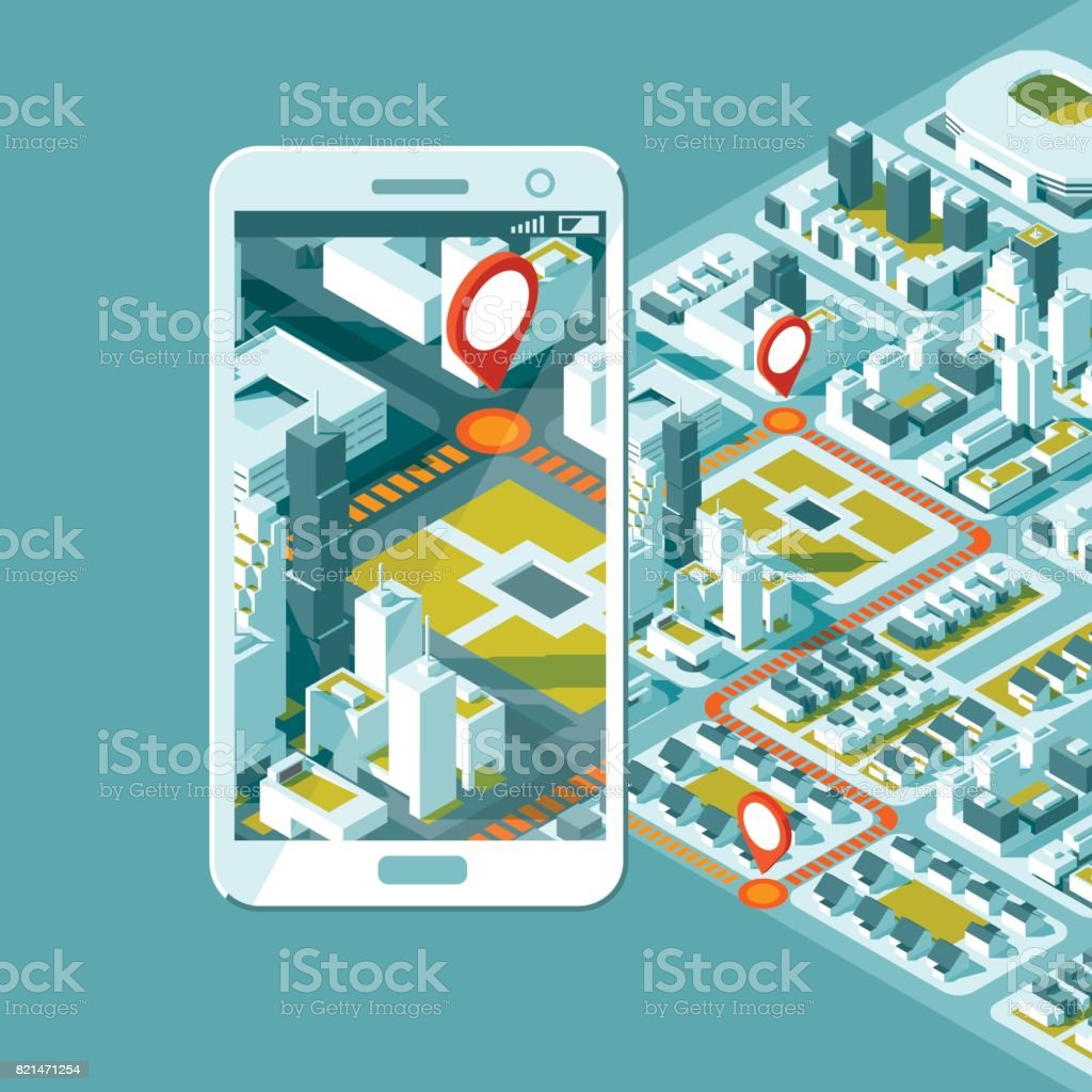 City Isometric Plan With Road And Buildings On Smart Phone
