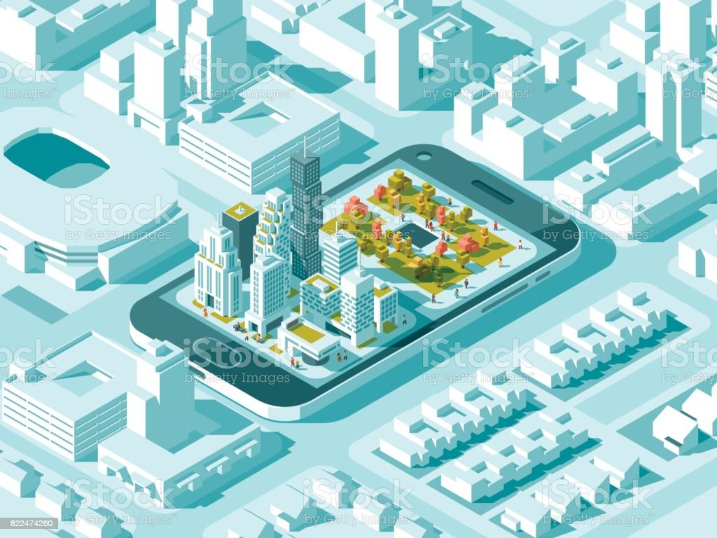 City isometric plan with road and buildings on smart phone map on city isometric plan with road and buildings on smart phone map on mobile application sciox Choice Image