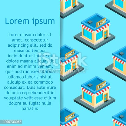 istock City isometric seamless pattern of the house, repetitive background. Vector illustration 1299733087