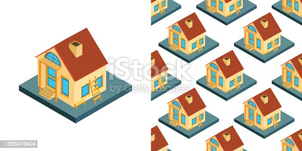 istock City isometric seamless pattern of the house, repetitive background. Vector illustration 1303419404