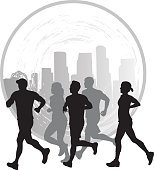 A vector silhouette illustration of a group of five male and female joggers.  In the background is a texturized city scape in a circle.