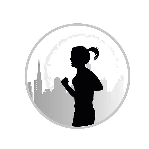 ilustrações de stock, clip art, desenhos animados e ícones de city jogging alone icon - young woman running city